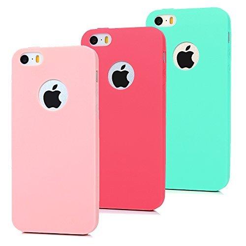 3x cover iphone 5s silicone, iphone se custodia morbido tpu flessibile gomma opaco - maxfe.co case antiscivolo satinato ultra sottile cassa protettiva per iphone 5 / 5s iphone se - rosa, rosso, verde
