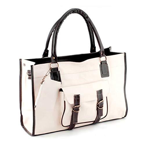 Vintage PU Leder große Kapazität Mode Handtasche Schultertasche Umhängetasche Verschleißfestigkeit für Reise Urlaub Gepäcktasche - Beige