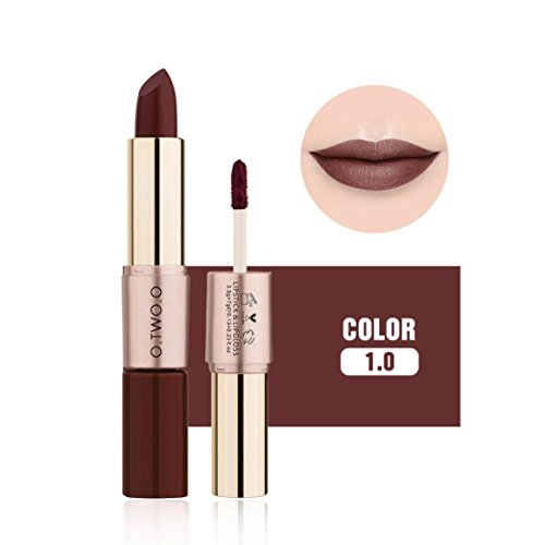 Nicht Gewürzt Feuchtigkeitscreme (12 Farben Frauen Samt Matte Lippenstift (Matte lippenstift & lipgloss 2 in 1) Upxiang Doppel-Ende Make-Up Lipgloss Kosmetik (J))