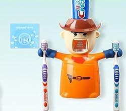 Urban Living Love Warrior Toothpaste Automatic Toothpaste Dispenser And Brush Holder( 17.5 X 8.0 X 20 Cm,Orange)