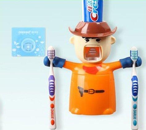 Urban-Living-Love-Warrior-Toothpaste-Automatic-Toothpaste-Dispenser-And-Brush-Holder-175-X-80-X-20-CmOrange