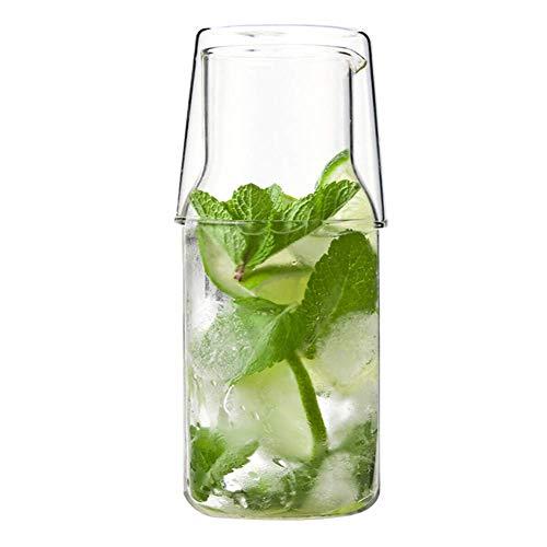 Reuvv Glas Cup mit Deckel 2 in 1 Nordische Trinken Hitzebeständig Glas Wasser Karaffe Set Kaffee Wasser Bier Tasse Set Langlebig Transparent Isolierte Borosilikatglas Konstruktion - Groß (Isolierte Glas-karaffe)