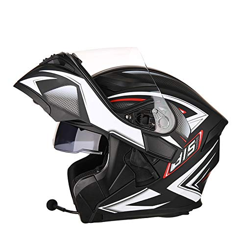 kollisionshelm Doppelseitiger Sonnenschutzhelm Leichtmotorrad-Scooter enthüllt Helm mit Bluetooth,J-XXXL=63~64cm ()