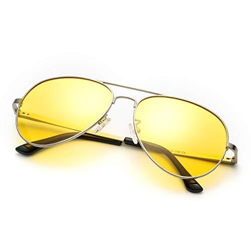 SODQW Nachtfahrbrille Gelbe Linse Anti-Glanz, HD Polarisiert Pilotenbrille Fahren Brillen, Nachtsichtbrille Autofahren 100{d8290d3d465f4b3599e54f0536c0c9daff1a9ddc7d37e6f23964101a28f934f0} UVA/UVB Schutz (Silber Rahmen Gelbe Linse)