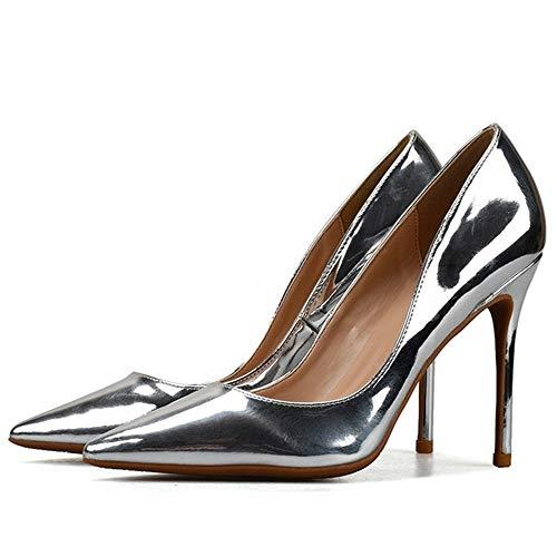 Schuhe Mode Spitze Pumps für Damen Patent Mikrofaser Leder Hohe Stiletto Absätze Prom Cocktail Party Kleid Schuhe: Spitz, Klassische Slip-On-Pumps ( Color : Silver 10 cm Heel , Size : 39 EU ) - Patent Leder Slip