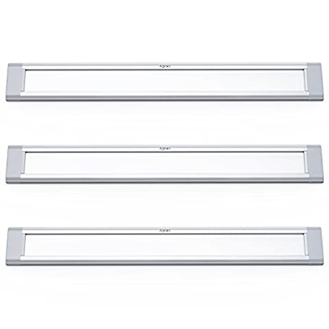 Aglaia LED Under Cabinet Lights Kit 3W, Pack of 3 Ultra Thin Closet Lights Bar with 6000K Cool White for Kitchen, Shelf, Locker, Show Case
