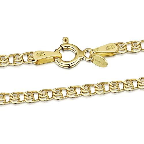 Amberta Designer Halskette - Feine Herzkette für Kinder - Sterling Silber 925 - Vergoldet 18K - Weite: 2.3 mm, Länge: 36 cm (Designer Halskette)