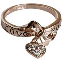 Fashion PLAZA & da appendere a forma di fiocco con Zirconia cubica, a forma di cuore, intagliato-Love You-Fashion Ring (disponibile nelle dimensioni K N P R R75