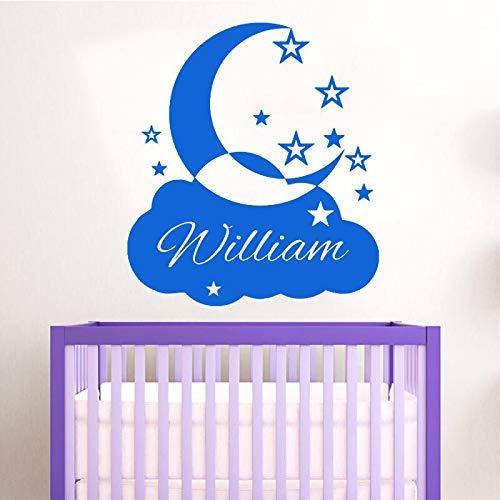 BailongXiao Maßgeschneiderte personalisierte Namen Wandaufkleber Wolken Mond und Sterne dekorative Wandtattoos Vinyl Babyzimmer Selbstklebende Tapete 58x65cm