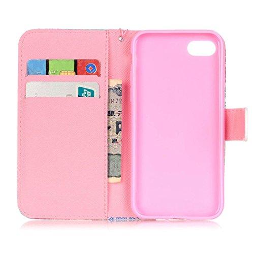 iPhone 7 Coque, Rose Cuir iPhone 7 Etui Rabat Style Prime Portefeuille Case Avec Carte Slots pour Apple iPhone 7 4.7 inch Avec Mandala Motif Image Rose-6