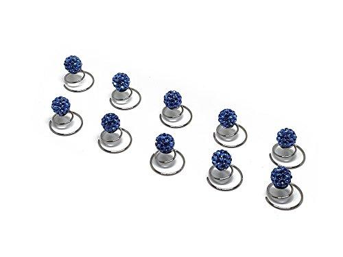 Épingles en spirale ornées de strass - accessoire pour cheveux/coiffure de mariée - de qualité | perle à strass - 10 pièces - bleu
