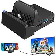 Ponkor Station d'accueil Nintendo Switch TV, Support de Chargeur pour Switch Portable Mini, Adaptateur Switch Compact vers HDMI 4K, Remplacement du Dock de Chargement pour Officielle Nintendo