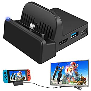 Ponkor Nintendo Switch TV Docking Station, Mini Ladestation für Tragbare Switch Dock, Kompakter Switch zu HDMI 4K Adapter, Switch Ladeständer als Ersatz für Nintendo Switch mit USB 3.0 und Type C
