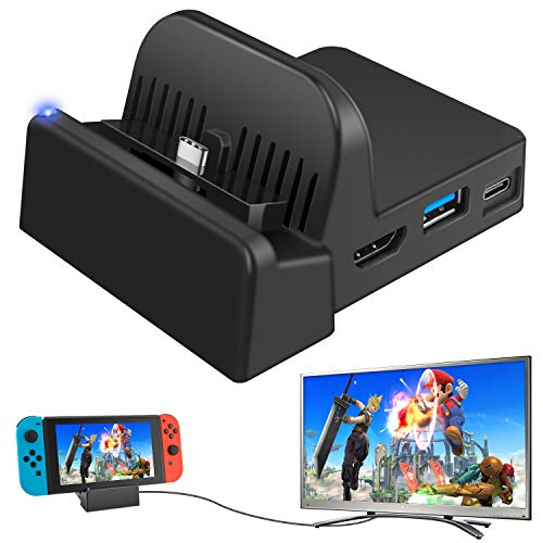 Ponkor Nintendo Switch TV Docking Station, Mini Ladestation für Tragbare Switch Dock Set, Kompakter Switch zu HDMI 4K Adapter, Switch Ladeständer als Ersatz für Nintendo Switch mit USB 3.0 und Type C