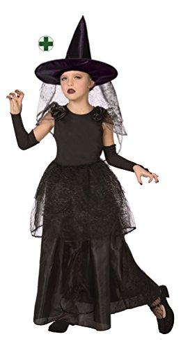 Karneval Klamotten Hexenkostüm Mädchen lang schwarz mit Hexenhut Halloween Hexe Kinder-Kostüm (Halloween Hexe Baby Kostüm Mädchen)