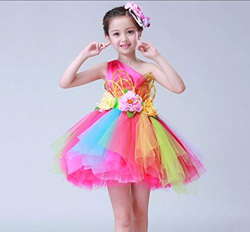 HUOFEINIAO Prinzessin Rock Flauschigen Rock Blume Fee Rock Junge Kinder Kostüme Kinder Blume Rock Tanzabnutzung Mädchen Flauschigen Rock Chor Kleidung Grün/Pink,Pink,110