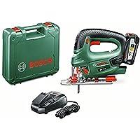 Bosch PST 18 LI - Sierra de calar a batería de 18 V (incluye 1 batería 18V a 2,5Ah, cargador, cubierta protectora, hoja de sierra T 144 D, maletín de transporte)