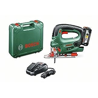 Bosch PST 18 LI – Sierra de calar a batería de 18 V (incluye 1 batería 18V a 2,5Ah, cargador, cubierta protectora, hoja de sierra T 144 D, maletín de transporte)