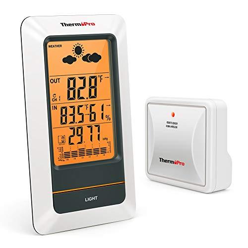 ThermoPro TP67 Estación Meteorológica Recargable Inalámbrica Termómetro Higrómetro...