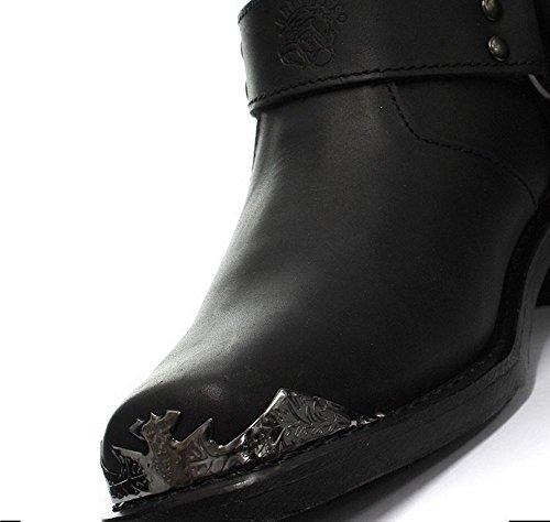 Bottines boots homme cuir véritable noir rock punk goth boucle aigle bout en métal Noir