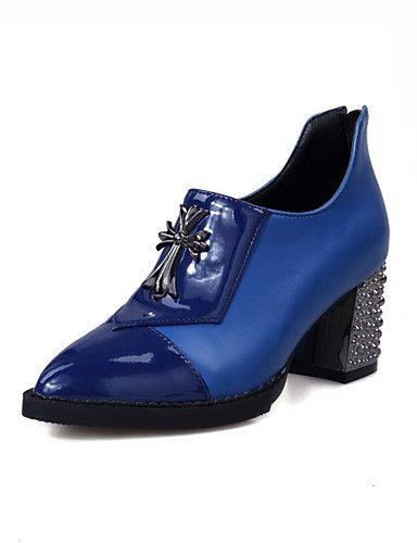 WSS 2016 Chaussures Femme-Extérieure / Bureau & Travail / Décontracté-Noir / Bleu / Rouge / Blanc-Gros Talon-Bout Fermé / Confort / Bout Pointu- black-us7.5 / eu38 / uk5.5 / cn38