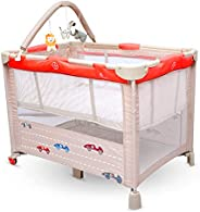 R for Rabbit Hide and Seek Baby Bed- Smart Folding Baby Cot/Crib (Red Beige)