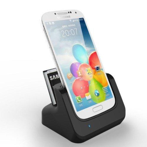 Totalcase Dockingstation DUAL Ladekabel für Samsung Galaxy Plus S4 i9500 i9505 Ladestation incl. zweites Akkuladefach + Ladekabel