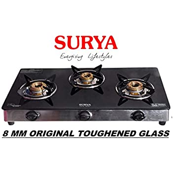 336aade13 Surya Crystal Glass Top 3 Burner Gas Stove Black   8MM Original Toughened  Glass (Crystal Glass Cooktop)