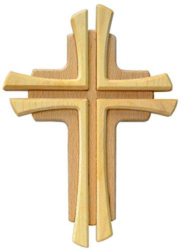 Kaltner Präsente Geschenkidee - Wandkreuz Echtes Holz Buche Kreuz Kruzifix für die Wand 22 cm modern