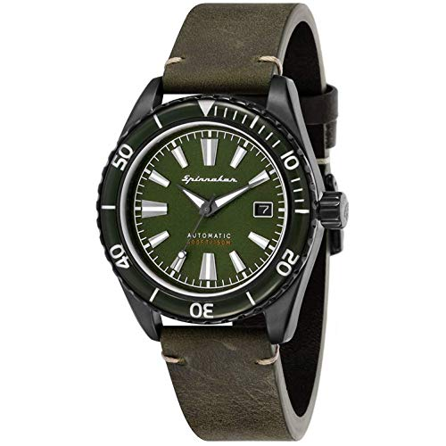 SPINNAKER Men's Fleuss 43mm Green Leather Band Automatic Watch SP-5056-04