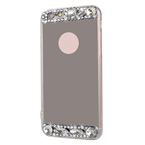 Spéculaire Coque Pour iPhone 6/6S, Asnlove Strass Bague de Serrage Support Cover TPU Miroir Housse Ultra Mince Cas Ring Stand Holder Étui Rhinestone Mode Case Pour iPhone 6/6S - Or Shell/Strass Rose B Noir