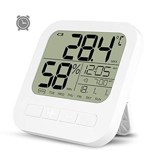 Opard Thermometer Hygrometer innen Thermometer digital Raumthermometer temperatur und luftfeuchtigkeitsmesser Hydrometer Feuchtigkeit luftfeuchtigkeitsmessgerät mit Wecker(weiß)