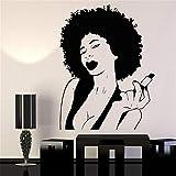 alicefen Damen schwarz Damen Lippen Make-up haarwachs Make-up Vinyl wandtattoos Dekoration Schlafzimmer Kunst wandbilder entfernbare wandaufkleber 77 * 58 cm