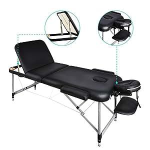 Naipo Massageliegen Massagestuhl Massagetisch mit dreifach tragbare Aluminium Füßen Einfacher Aufbau mit Transport Koffer (leicht 14.5kg, belastbar bis 250kg)