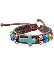 PAPAYANA Hippes Leder-Armband besetzt mit türkisem Stein in Kreuz-Form und bunten Linsen