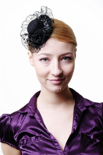 DRESS ME UP - Fascinator Miniatur Hut Mini Zylinder Schwarz 2 Rosen Tüll Punkte Damen Burlesque H45 Gothic Lolita