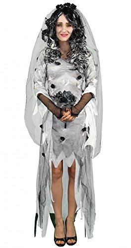 Foxxeo 40227 I Elegantes Gothik Geister Braut Damenkostüm mit Schleier und Brautstrauß | Größe S, M, L, XL | sexy weißes Zombie Brautkleid Gotic lang schwarze Rosen Frauen Tüll Kostüm Halloween Horror Damen Kostüm zum Verkleiden, Größe:XL