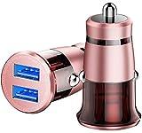 Auto-Ladegerät,CAFELE Mini USB Auto Adapter KFZ Ladegerät 2- USB Port 5V / 3.1A mit Aluminium-Legierung Gehäuse für iPhone X/XS/XR/8/ 8+, iPad Air / Mini, Galaxy S9/S8, Huawei P20 Pro/ Mate 10 Pro/ Huawei P10 usw ((rosegold)