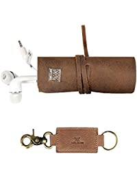 Genuine Leather Classy Vintage Look Cords Wrap Organizer And Key Holder Pack