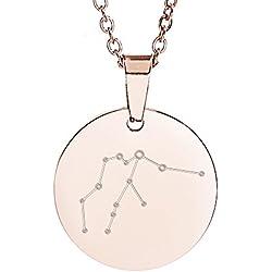 Gravado – Kette mit Kreis-Anhänger aus Edelstahl – Farbe: Roségold – Sternzeichen Wassermann – Sternbild – Geschenkbox – Geschenke für Frauen – Schmuck für Herren