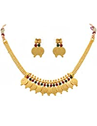 BFC - Ethnic Coin Design Red And Green One Gram Gold Plated Necklace Set And Jewellery Set For Women And Girls