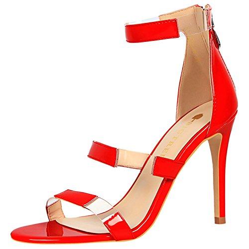 Oasap Women's Open Toe Hollow out Stiletto Heels Sandals Red