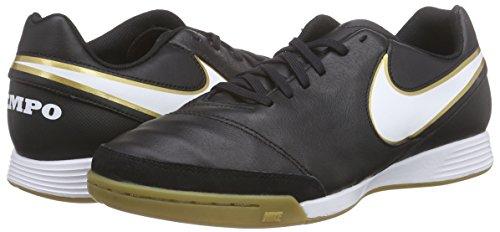 Nike Tiempo Genio II Leather IC  Men   s Football Training  Black  Black White   10 UK