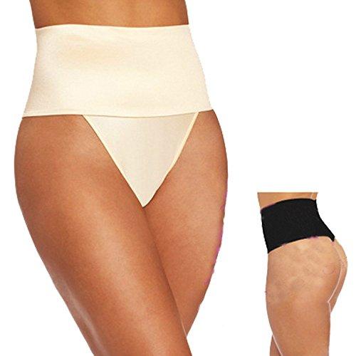 Femmes taille haute contrôle du ventre Minceur Body Shaper Culotte String Culotte Beige