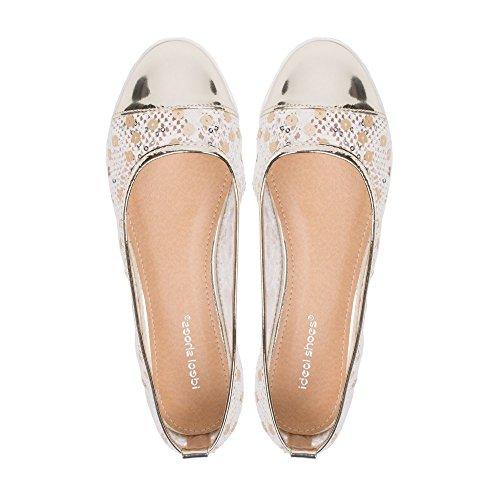 Ideal Shoes - Ballerines bi-matière ornées de sequins Maeva Doree