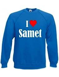 """Sweatshirt """"I Love Samet"""" für Damen Herren und Kinder ... in den Farben Schwarz Weiss Blau mit Aufdruck"""