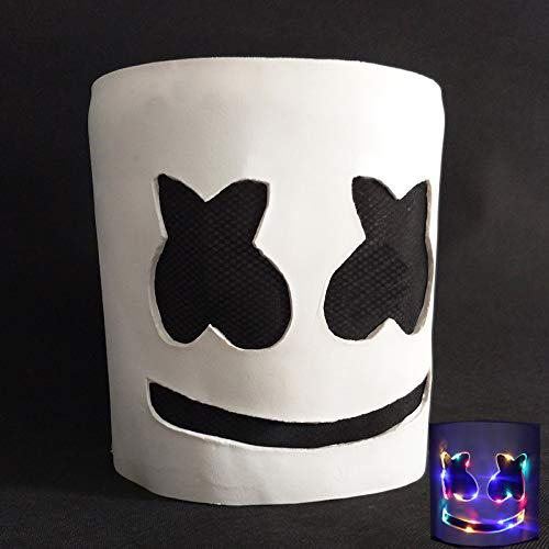 ello Dj Maske für Party Lächeln Gesicht Kinder Erwachsene Helm Halloween Cosplay Latex Led Party Maske Marshmallow A-1758 ()