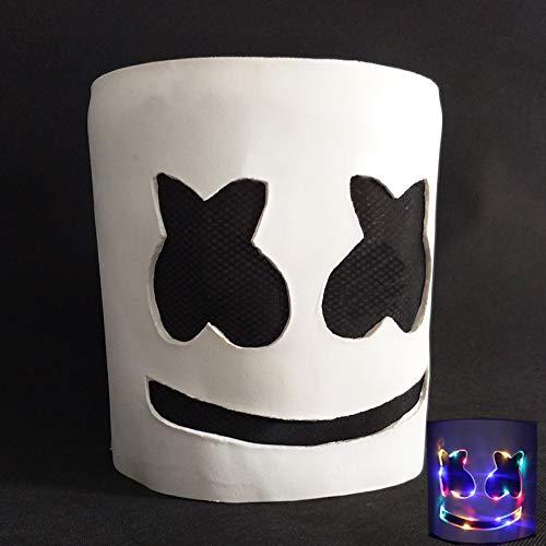 Neue 2019 Led Marshmello Dj Maske für Party Lächeln Gesicht Kinder Erwachsene Helm Halloween Cosplay Latex Led Party Maske Marshmallow A-1758 (Blaue Halloween-maske 2019)
