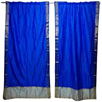 Mogul Interior 2 Indian Sari Curtain Drape Blue Window Treatment Home Decor Curtains 84x44
