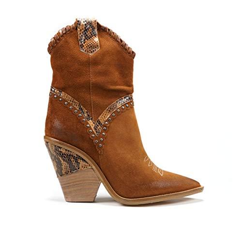 BRAWN'S stivalo Cowboy con ricami e Pitone - Botas de Cuero para Mujer Grigio Perla + PU Laminato Specchio Marrón Size: 36 EU